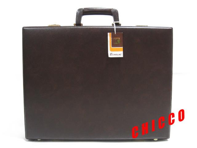 即決★日本製未使用★ECHOLAC アタッシュケース PVC こげ茶 42.5×32.5×9cm 鍵付き ビジネスバッグ 旅行鞄 トランクケース トラベル 美品_画像2