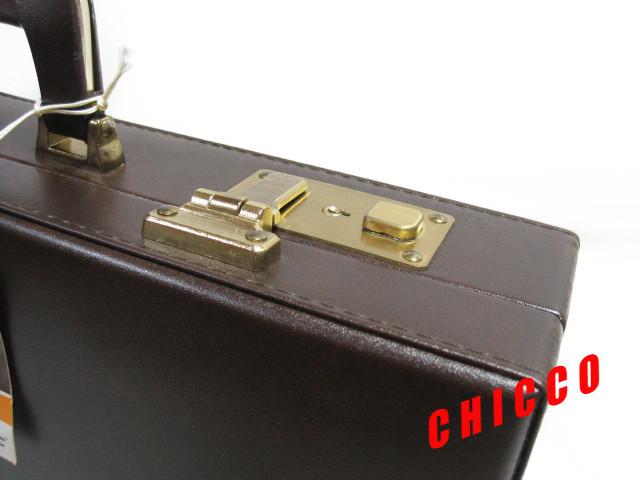 即決★日本製未使用★ECHOLAC アタッシュケース PVC こげ茶 42.5×32.5×9cm 鍵付き ビジネスバッグ 旅行鞄 トランクケース トラベル 美品_画像3