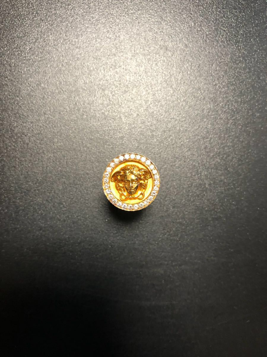 GIANNI VERSACE SIGNATURE ジャンニ ヴェルサーチ ダイヤモンド装飾 特注品18金製 ラペルピン オーダー品