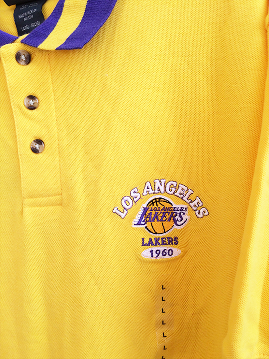 NBA XXL 2XL ロサンゼルス レイカース LAKERS ポロシャツ イエロー 黄色 YELLOW 1117_画像2