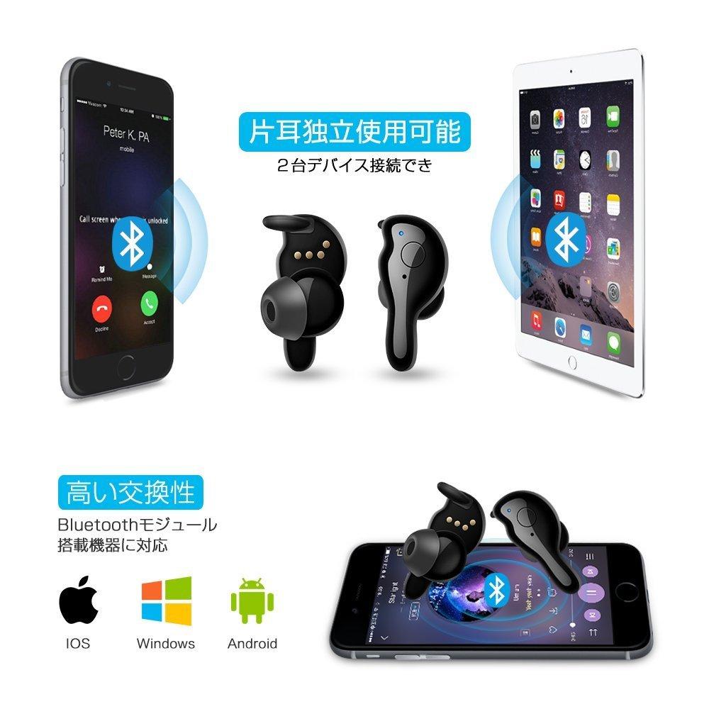 【定価4,999円】 Bluetooth イヤホン ワイヤレス 両耳 片耳 自動ペアリング 自動ON/OFF 高音質 IP67 iPhone Android 対応 Lcsriya ブラック_画像4