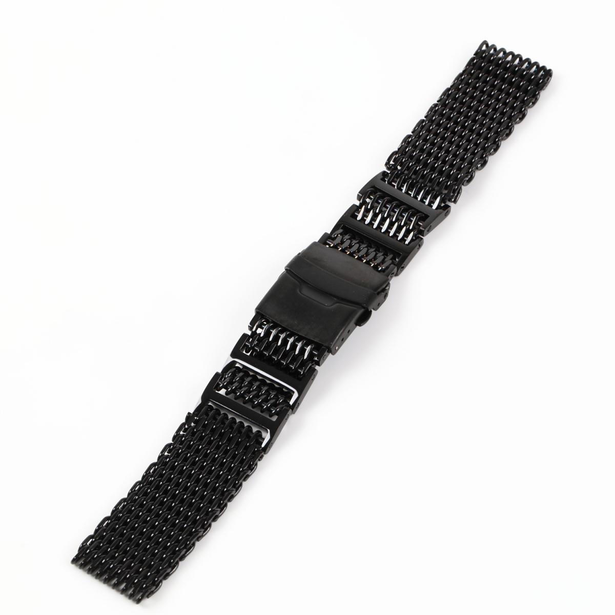 シャークメッシュ 20mm Hリンク ブラックステンレス 腕時計ベルト_画像2