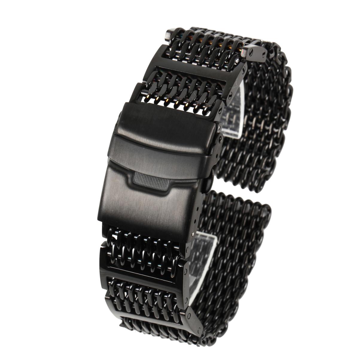 シャークメッシュ 20mm Hリンク ブラックステンレス 腕時計ベルト_画像1