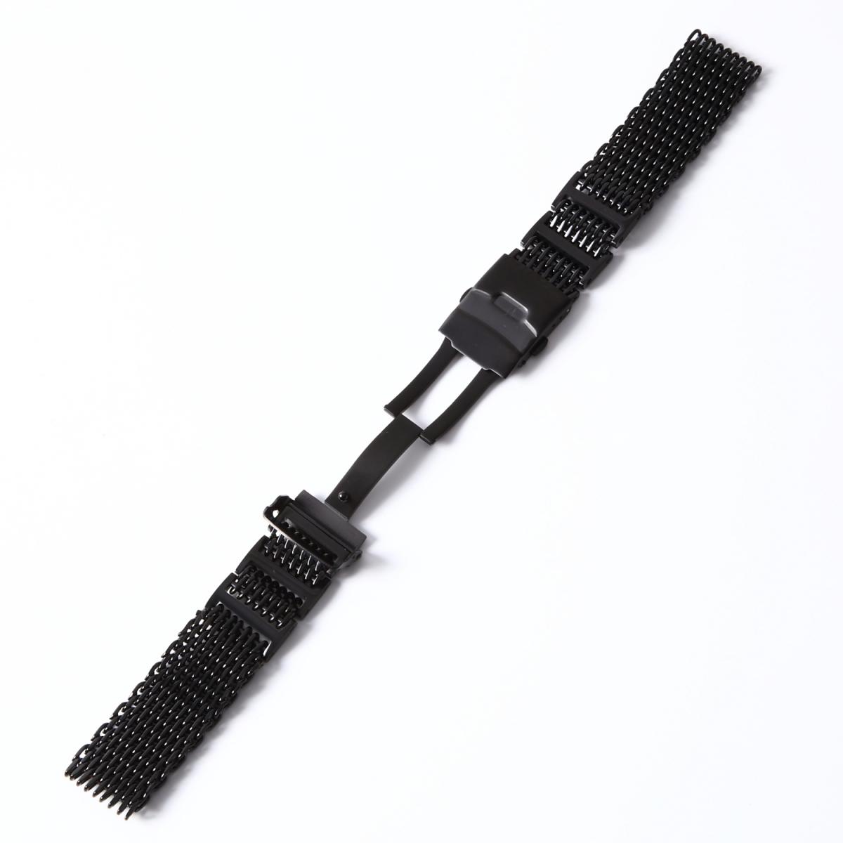 シャークメッシュ 20mm Hリンク ブラックステンレス 腕時計ベルト_画像4