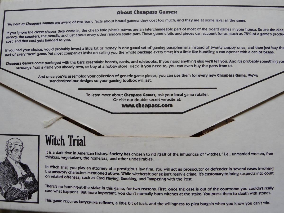 魔女裁判 Witch Trial (Cheapass Games:2001年)3~7人で遊べるセイレム魔女裁判ゲーム〔未使用美完品・日本語和訳ルール付き〕_画像4