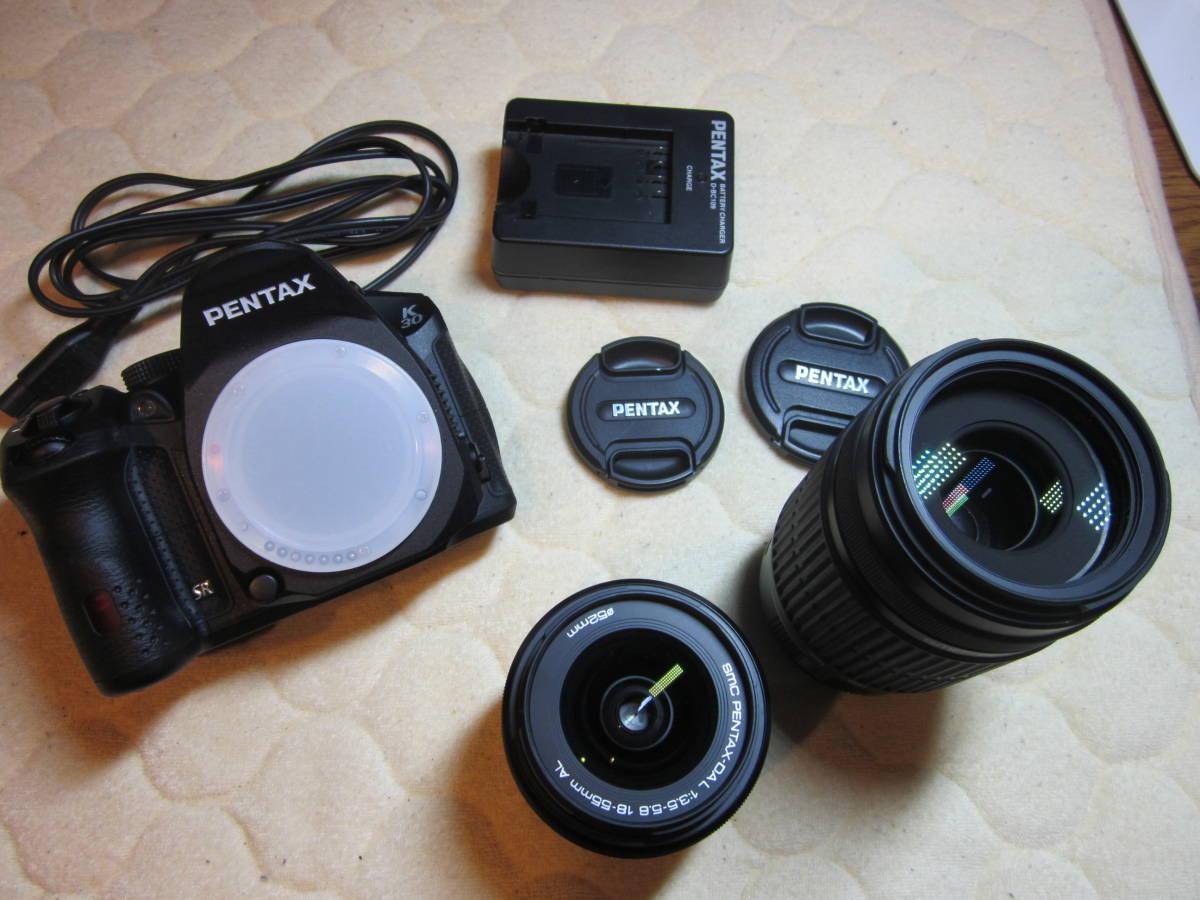 極上品、PENTAX ペンタックス K-30 純正18-55,55―300mmダブルレンズセット ,