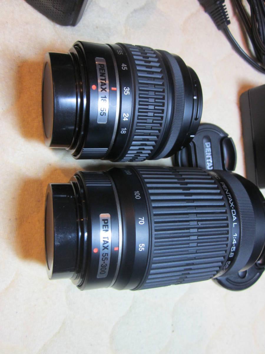 極上品、PENTAX ペンタックス K-30 純正18-55,55―300mmダブルレンズセット ,_画像9
