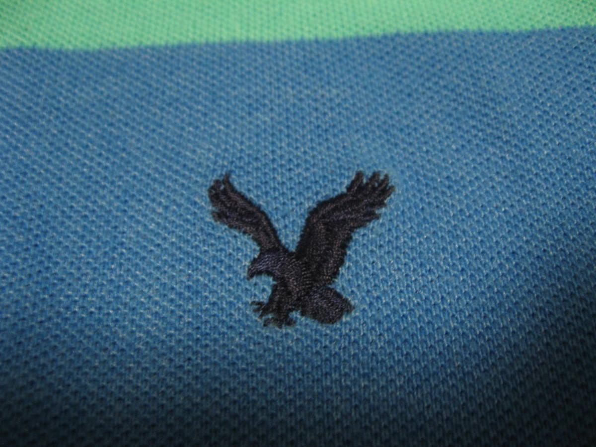 アメリカンイーグル アウトフィッターズ AMERICAN EAGLE OUTFITTERS ボーダー 半袖ポロシャツ Mサイズ_画像3