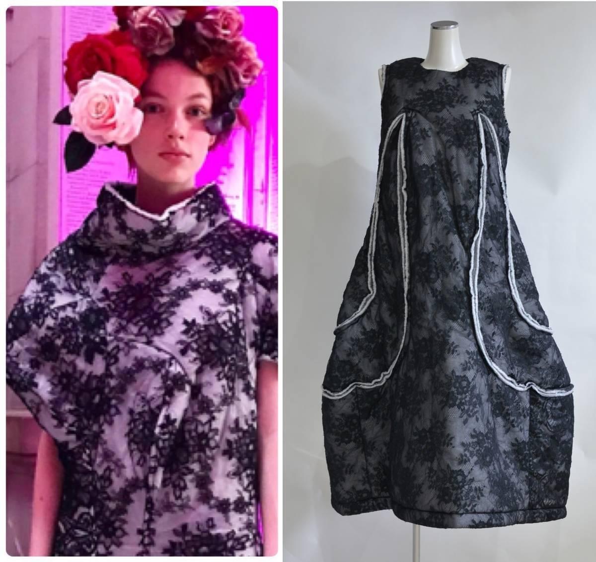 17AW COMME des GARCONS コムデギャルソン 花柄 フラワー レース ボリューム ドレス ワンピース Y-230550_画像1