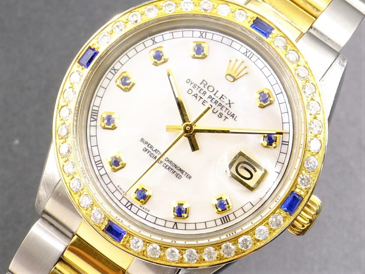 美品 ロレックス デイトジャスト GOLD サファイア 白 ホワイトシェール ダイアル White MOP 10P ダイヤ Ref.1601 Cal.1570 OH済1年保証