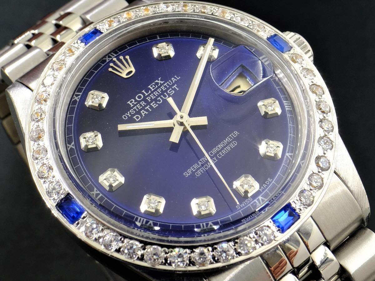 新品仕上げ、ロレックス デイトジャスト Rolex Datejustサファイアブルー 10P ダイヤ & CL サファイア&ダイヤ 1601 Cal.1570 OH済1年保証