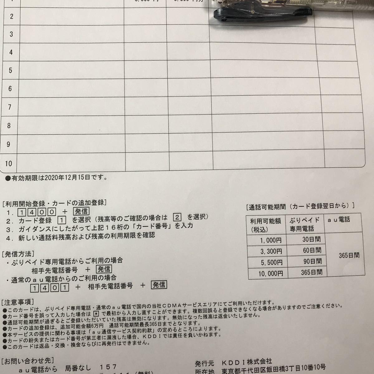 ☆au ぷりペイドカード 3300円分 プリペイドカード 送料無料(その2)_画像2