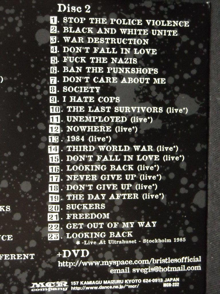 国内盤2CD+DVD/BRISTLES/ブリストルズ/NO FUTURE IN THE PAST/80年代スウェーディッシュハードコアパンクHARDCORE PUNKスウェーデンSWEDEN_画像3