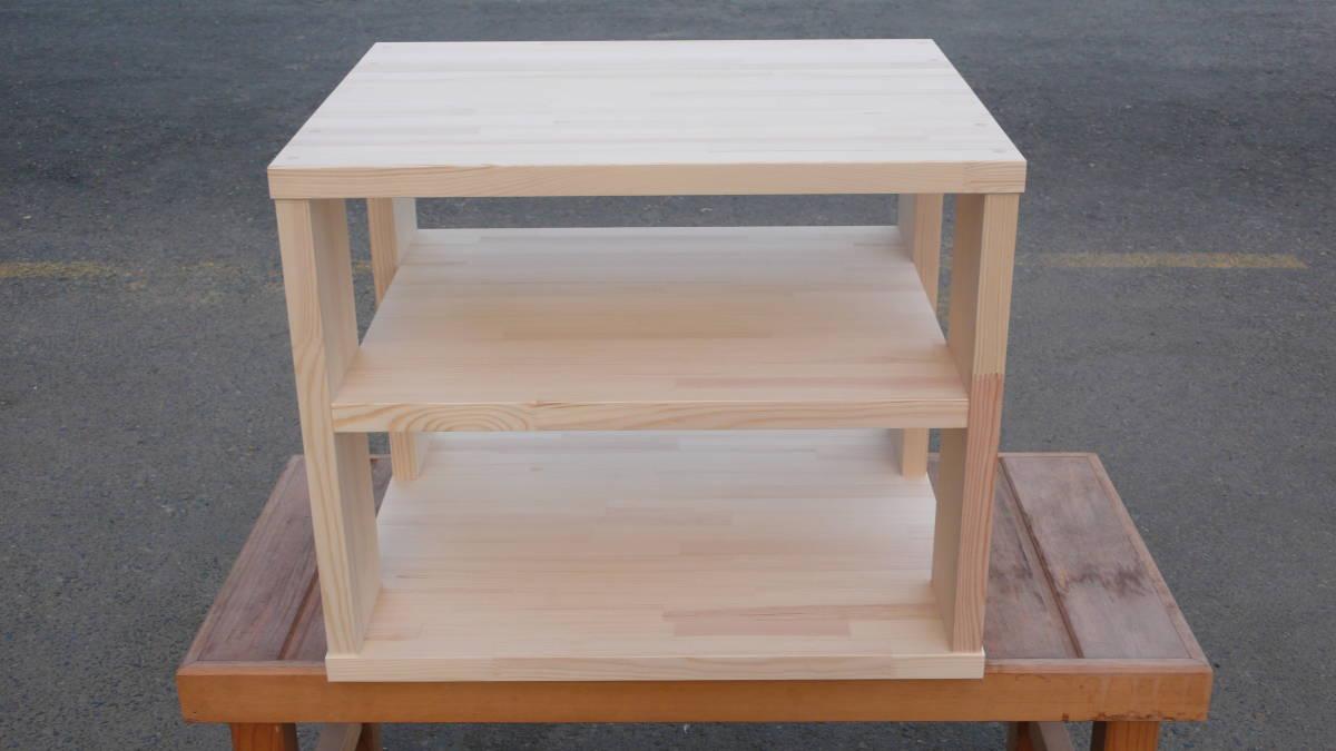 ◇大型ターンテーブル対応・中間棚1段タイプオーディオラック【低床・高