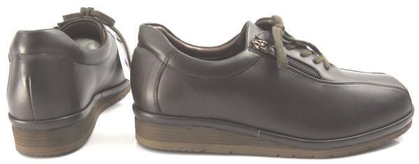 レディース左右サイズ違い靴 本革コンフォートシューズ ハッシュパピー Hush Puppies 日本製 レースアップ 左24cm右23.5cm幅広4E 茶 S6504_画像2