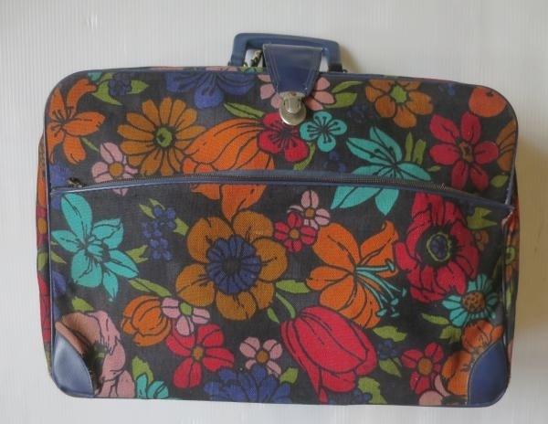 70's 日本製 花柄 トランクケース ハンドバッグ 紺 ネイビー/ビンテージ オールド アメリカ古着 ヒッピー 雑貨 インテリア_画像1