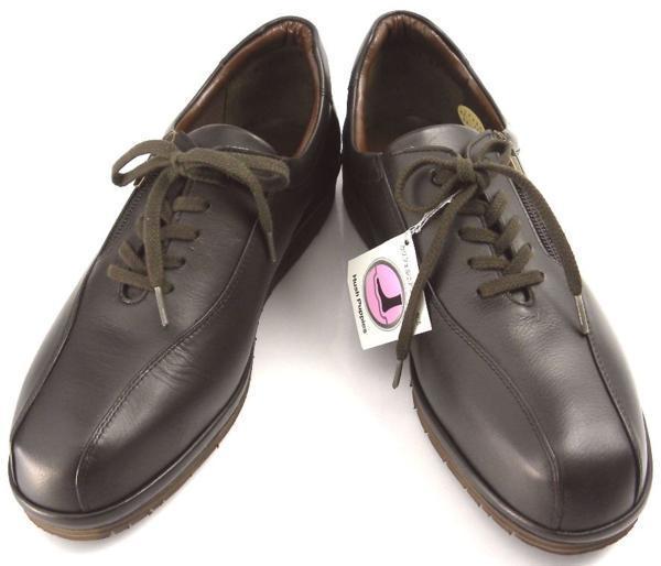レディース左右サイズ違い靴 本革コンフォートシューズ ハッシュパピー Hush Puppies 日本製 レースアップ 左24cm右23.5cm幅広4E 茶 S6504_画像3