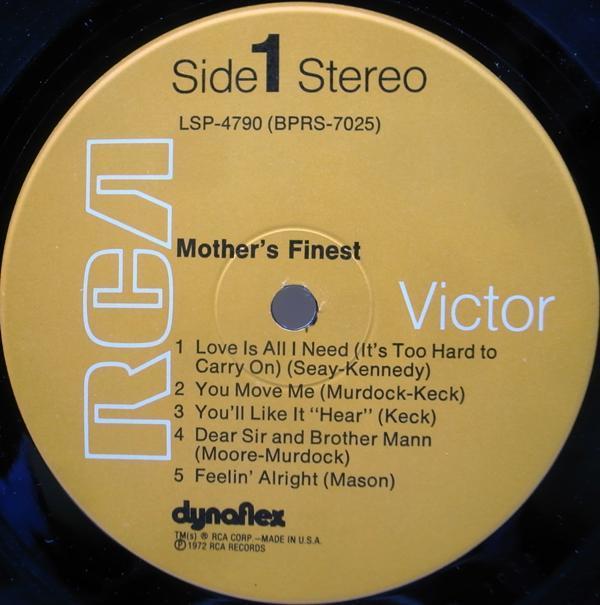 レア・初回Dynaflex 橙ラベ USオリジナル MOTHER'S FINEST Same/1st. デビュー ('72 RCA) 白黒混合ファンク・ロック・バンド_画像4