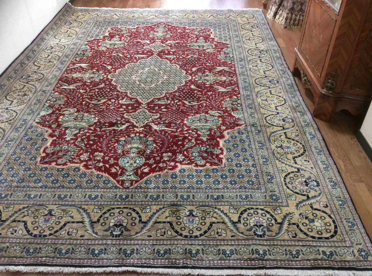 ◆お薦め◆アンティーク ペルシャ絨毯 クム産 ウール シルク◆6平米◆市場に出ない芸術作品!ハジハイメィー柄◆お宝絨毯