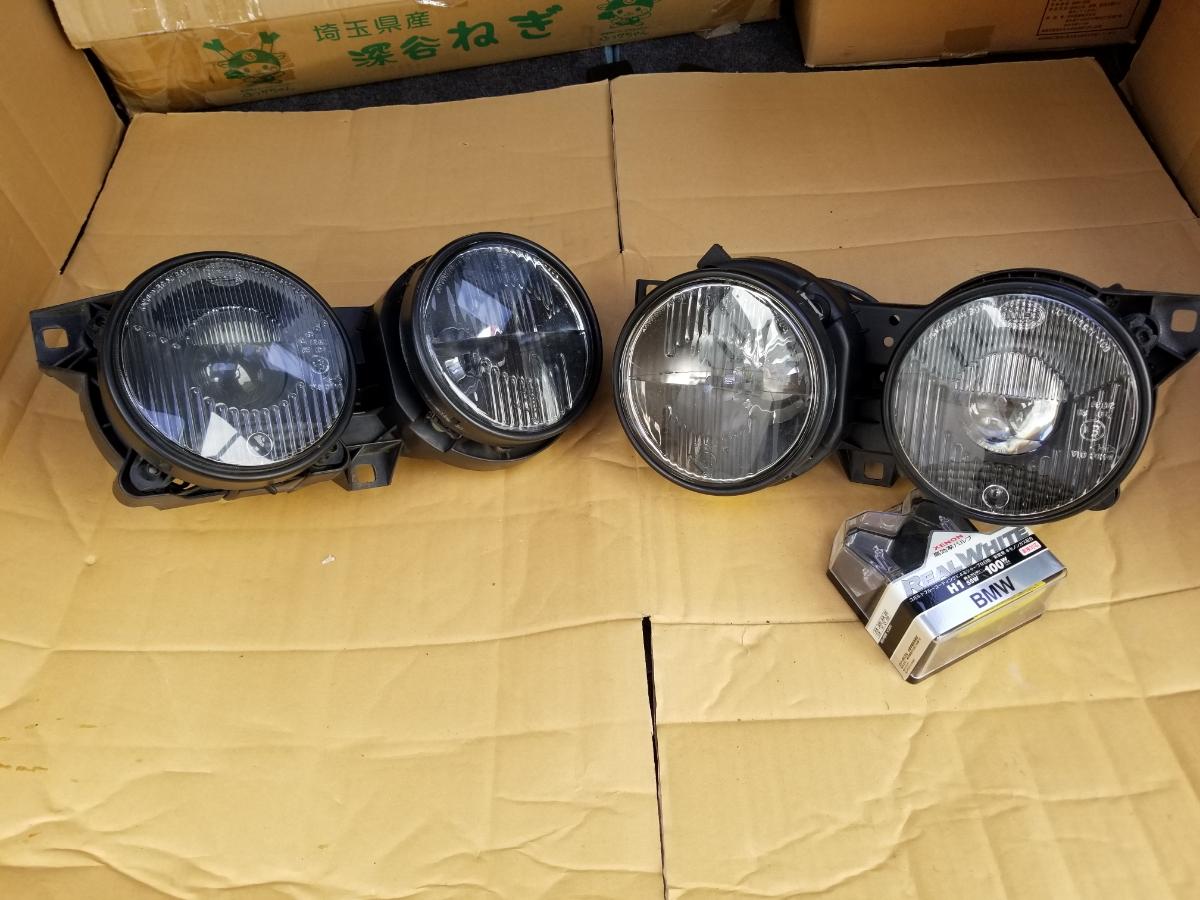 BMWE30ヘラ製ブラックヘッドライト中古パーツジャンク品
