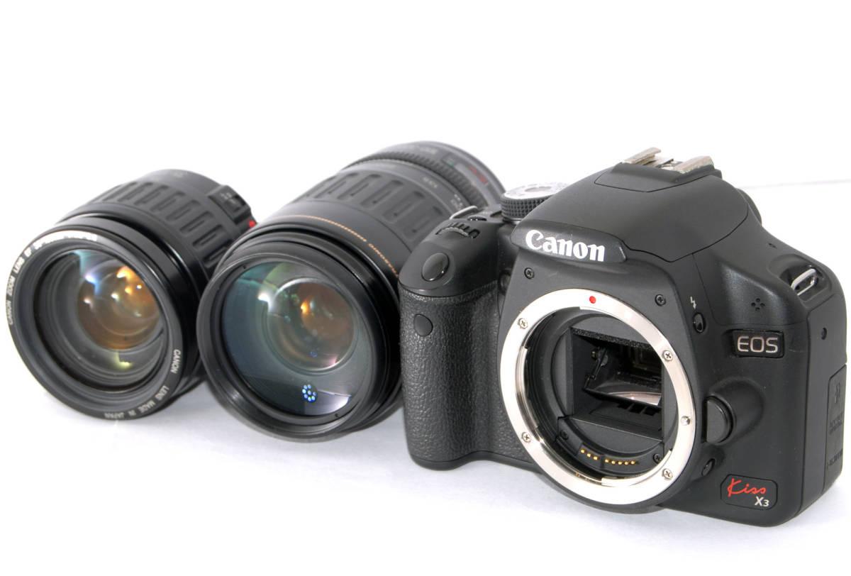 ●付属品多数有り● Canon キャノン EOS Kiss X3 純正&超望遠Wズームレンズセット_外観、光学系共に極美品コンディション★