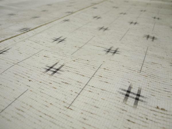 正絹 新品・未使用 伝統的工芸品 ぜんまい紬 根津儀一 仕付け糸付き ガード加工 美品 -袷-_画像5