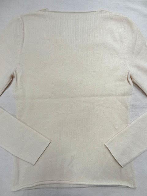 LUCIEN PELLAT FINET ルシアンペラフィネ カシミア 100 Vネック 白 ホワイト ニット マリファナ 大麻 刺繍 ロゴ レディース サイズ S _画像6