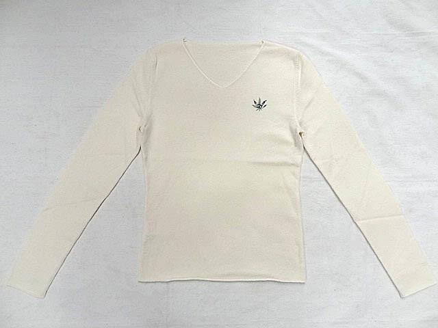 LUCIEN PELLAT FINET ルシアンペラフィネ カシミア 100 Vネック 白 ホワイト ニット マリファナ 大麻 刺繍 ロゴ レディース サイズ S _画像1