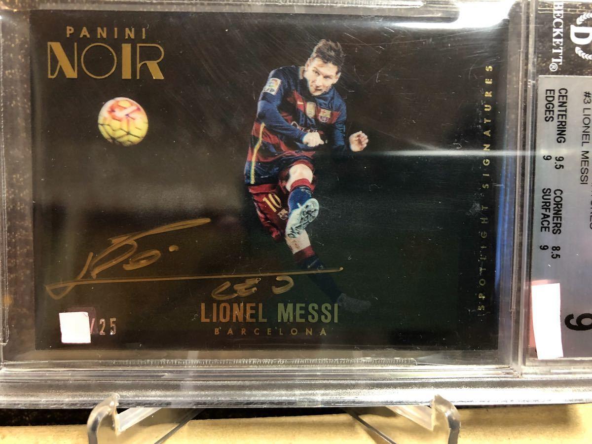 2016-17 Panini Noir Acetate Spotlight Signatures Lionel Messi Barcelona AUTO #25(メッシ直書き/金ペンオート/グレーディング済) _画像3