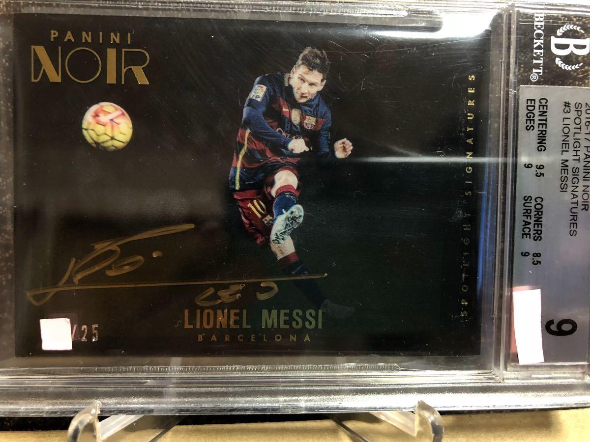 2016-17 Panini Noir Acetate Spotlight Signatures Lionel Messi Barcelona AUTO #25(メッシ直書き/金ペンオート/グレーディング済) _画像2
