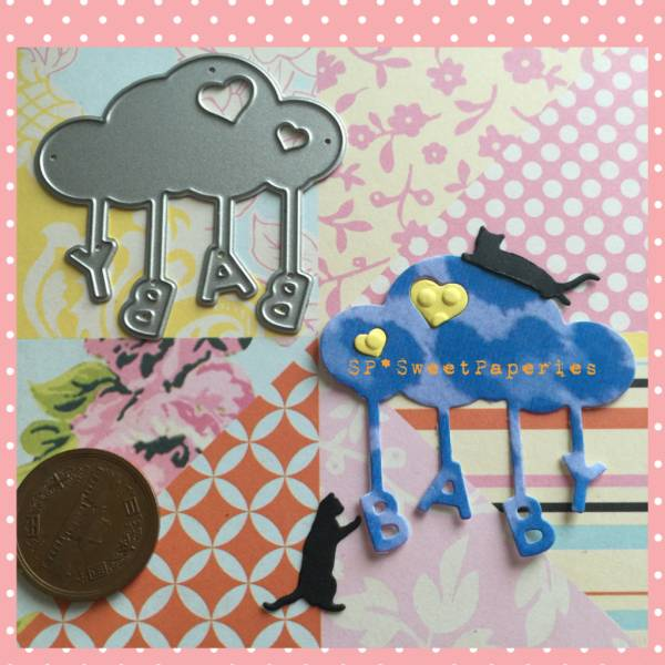 ダイ 508 ハートの雲 BABY ハンギング文字 ガーランド オーナメント ベビーシャワー BABY 赤ちゃん誕生 カッティングダイ ツール_画像1