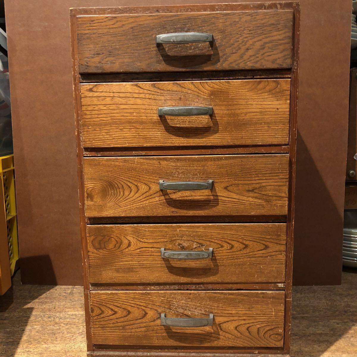 レトロ 木箱 5段 アンティーク 小引き出し 収納古道具 小物入れ_画像1
