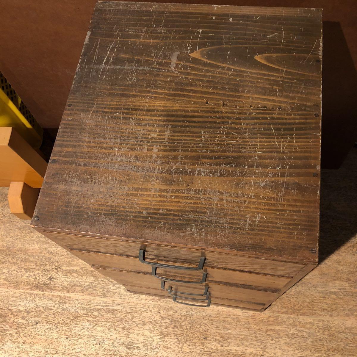 レトロ 木箱 5段 アンティーク 小引き出し 収納古道具 小物入れ_画像2