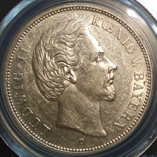■■ドイツ バイエルン王国 5マルク銀貨 1874年 Ludwig Ⅱ ルートヴィヒ2世 PCGS AU53 極美品 綺麗 & 特年!■■
