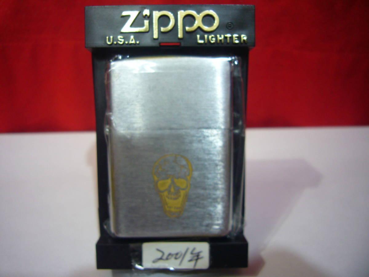 ☆☆☆【ZIPPO】・ジッポー☆☆☆/・2OD-SKL・ユーズド加工・2001年・ガイコツ・骸骨・・新品・M269