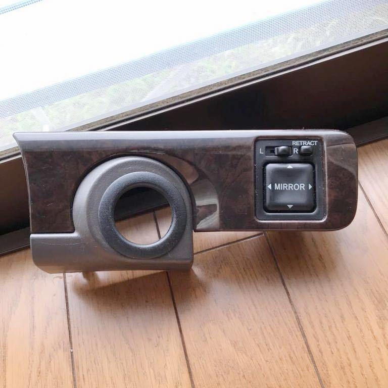 ■JZX100 GX100 マーク2 チェイサー純正 ドアミラースイッチ パネル キー差し込み 木目調 中古_画像1