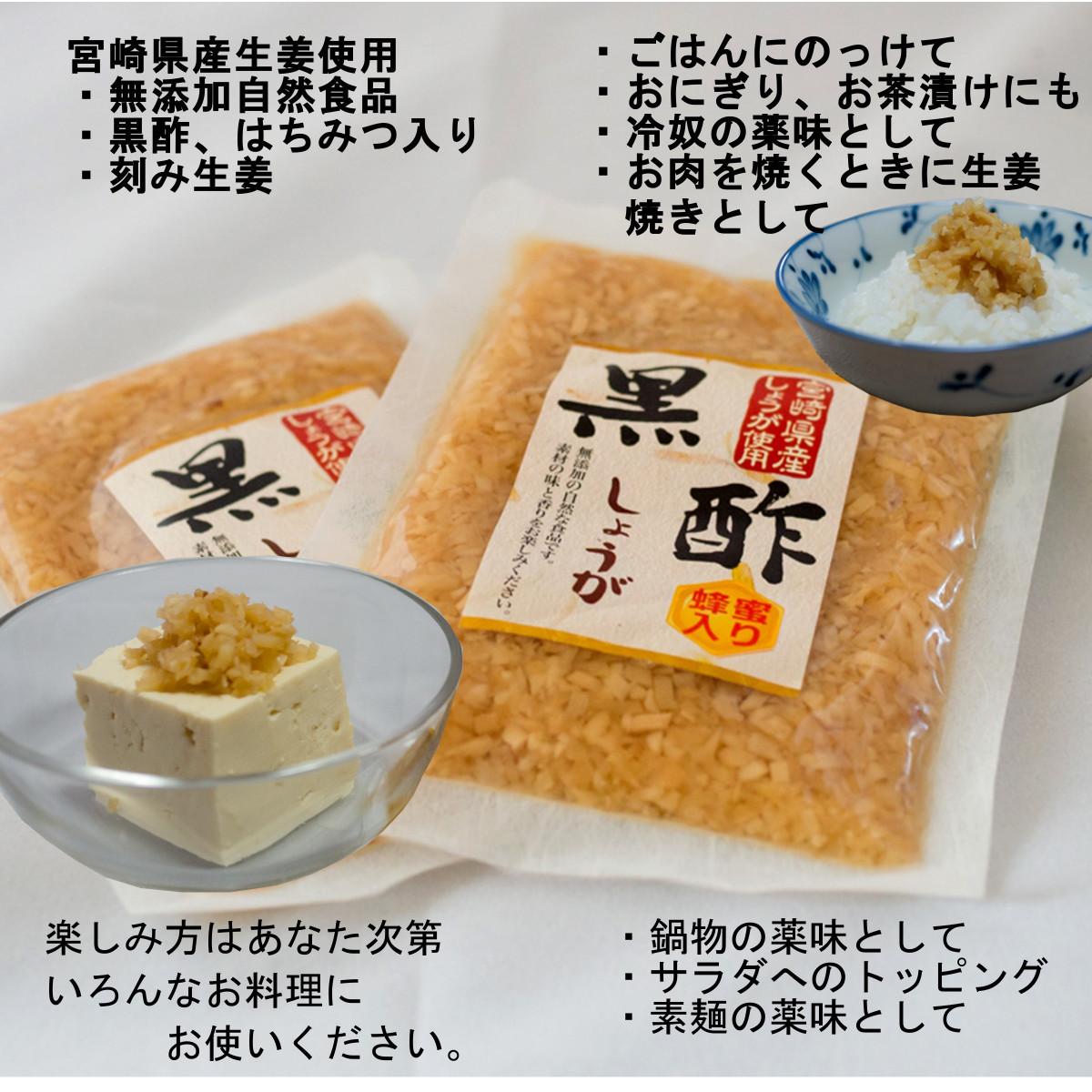 黒酢生姜・蜂蜜入り 20袋 ご飯のお供 色んな料理の薬味 付け合わせに おつまみに おかずに 宮崎県産 生姜使用 送料無料_画像4