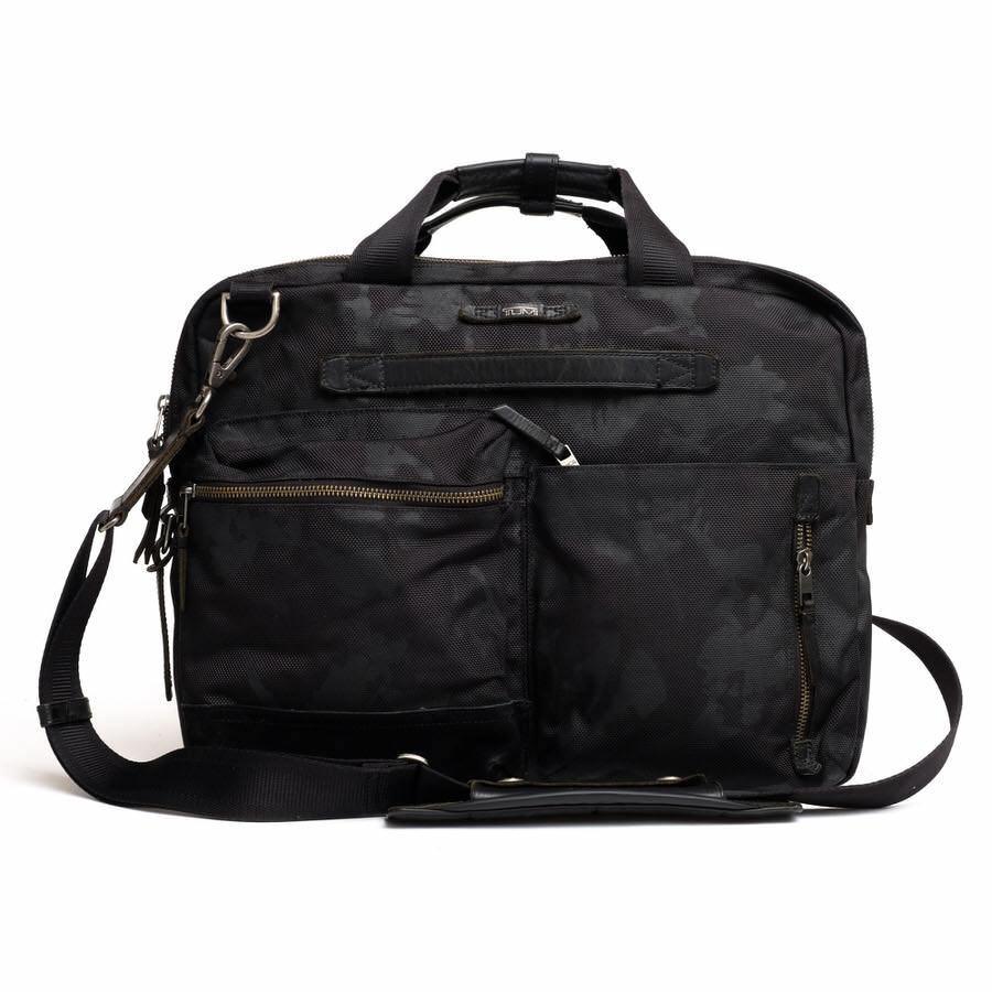 TUMI トゥミ ビジネスバッグ ブリーフケース 鞄 61011DCM DALSTON Acer Slim Zip Brief ダルストン メンズ レザー 革 ナイロン c2123_画像1