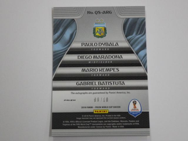 【Dybala / Maradona / Kempes / Batistuta】Panini 2018 World Cup Prizm Auto 直筆サイン /10 アルゼンチン マラドーナ ディバラ バティ_画像4