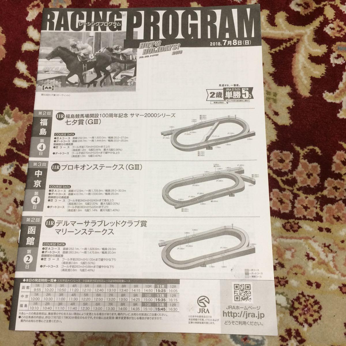 JRAレーシングプログラム2018.7月8日(日)、七夕賞(GⅢ)、プロキオンステークス(GⅢ)、マリーンステークス_画像1
