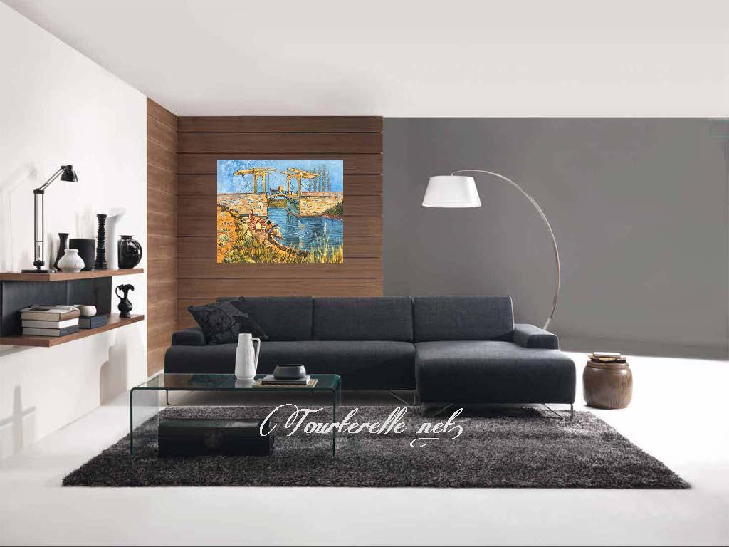 ◆Modern Art◆肉筆☆油絵☆F20号☆ゴッホ『アルルの跳ね橋』模写/即決あり_画像2