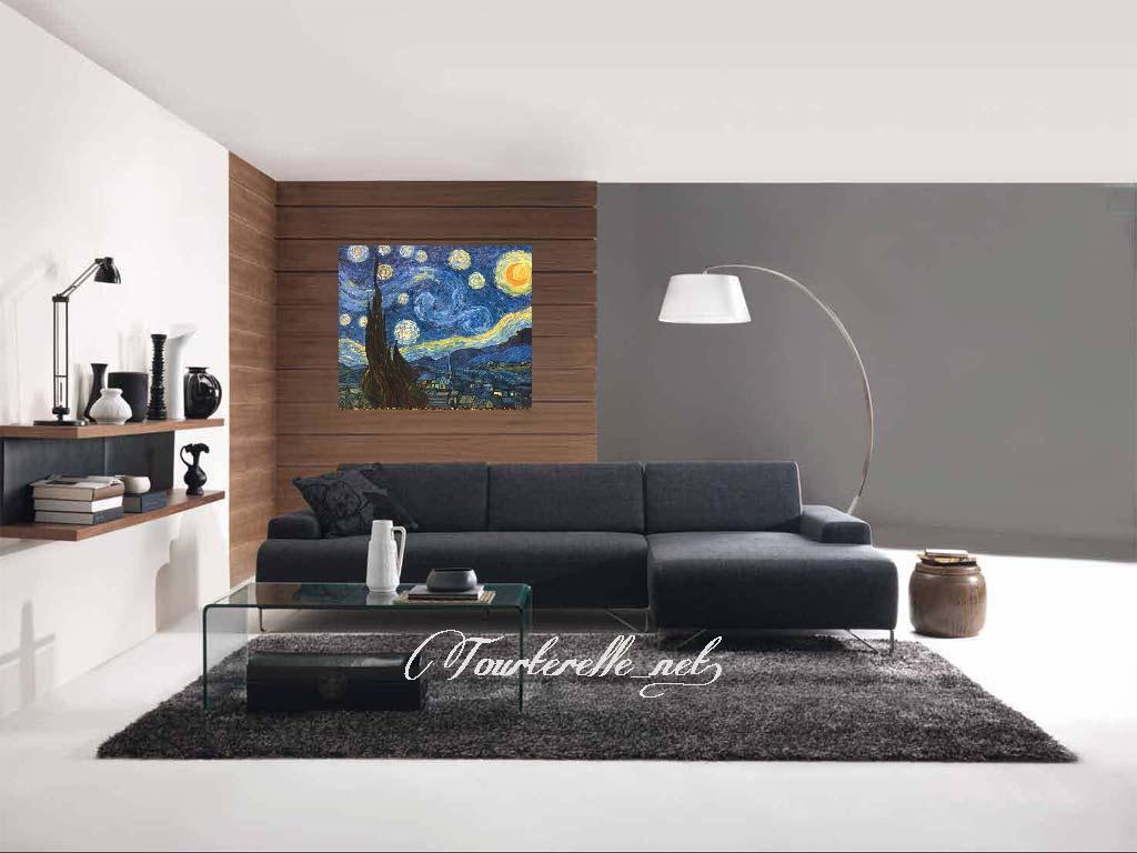 ◆Modern Art◆肉筆☆油絵☆F20号☆ゴッホ『星月夜/糸杉と村』☆即決も/模写_画像2