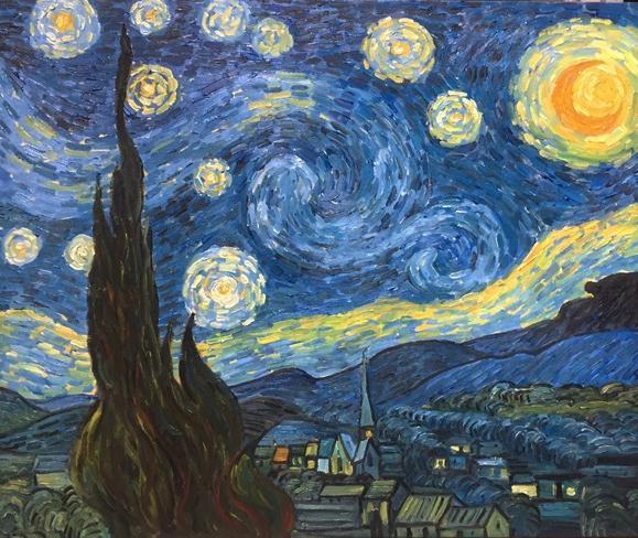 ◆Modern Art◆肉筆☆油絵☆F20号☆ゴッホ『星月夜/糸杉と村』☆即決も/模写_画像1