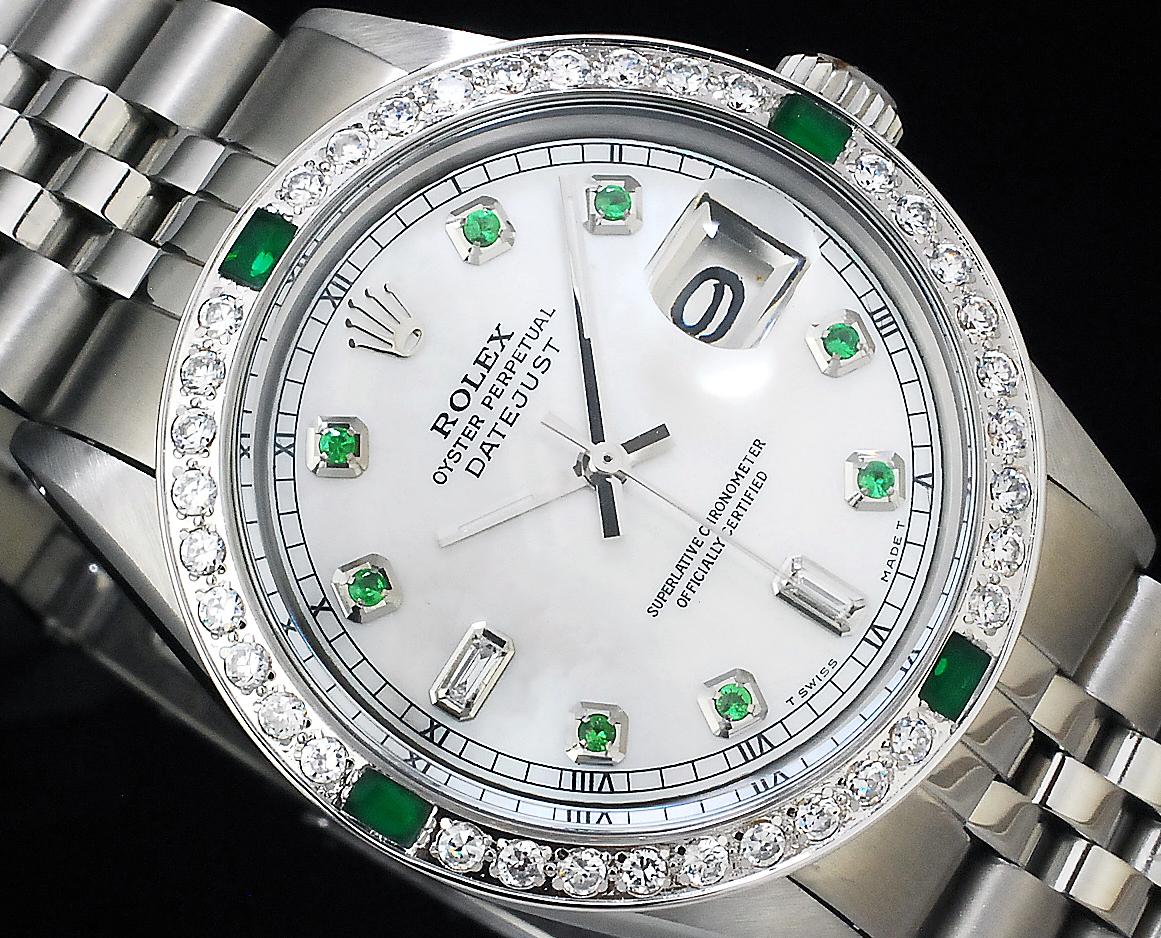 2年保証 白 ホワイトシェル ロレックス デイトジャスト 8+2P 天然エメラルド/ダイヤ Ref.1601 Cal.1570 OH済 仕上済 ROLEX メンズ 極美品