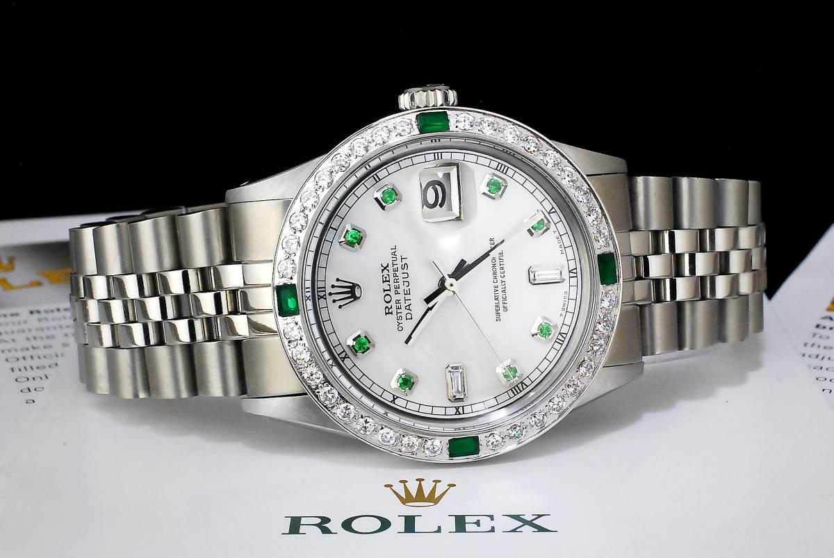 2年保証 白 ホワイトシェル ロレックス デイトジャスト 8+2P 天然エメラルド/ダイヤ Ref.1601 Cal.1570 OH済 仕上済 ROLEX メンズ 極美品_画像4