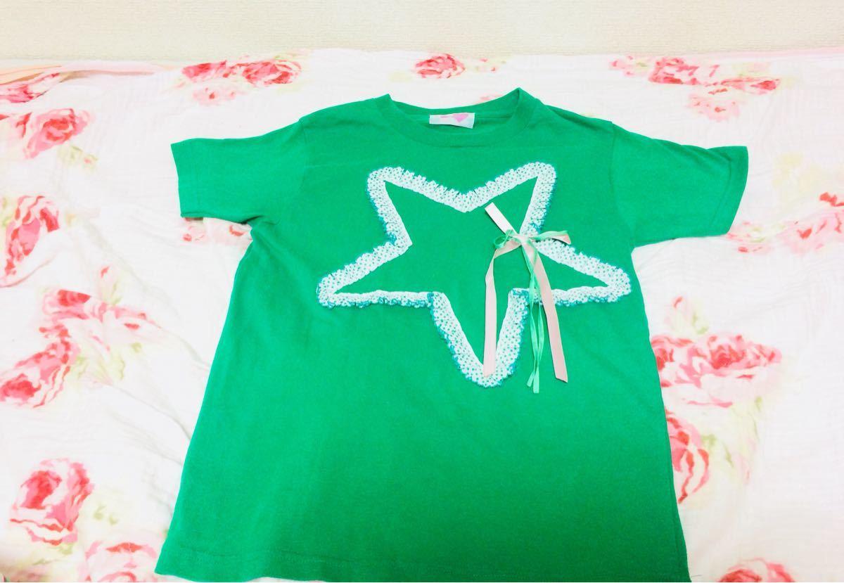 ナイルパーチNile Perch▼ゆめかわいいリボン星Tシャツ半袖グリーン原宿青文字系_画像1