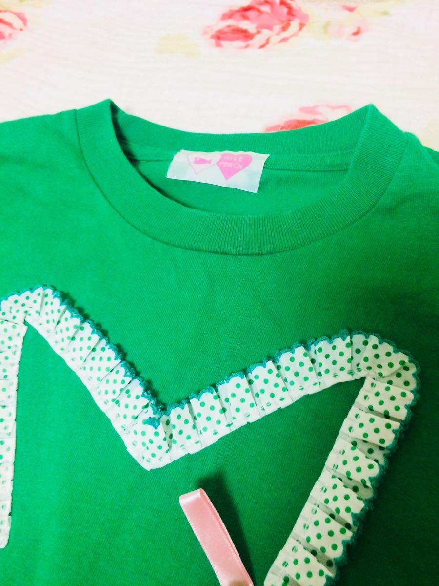 ナイルパーチNile Perch▼ゆめかわいいリボン星Tシャツ半袖グリーン原宿青文字系_画像2
