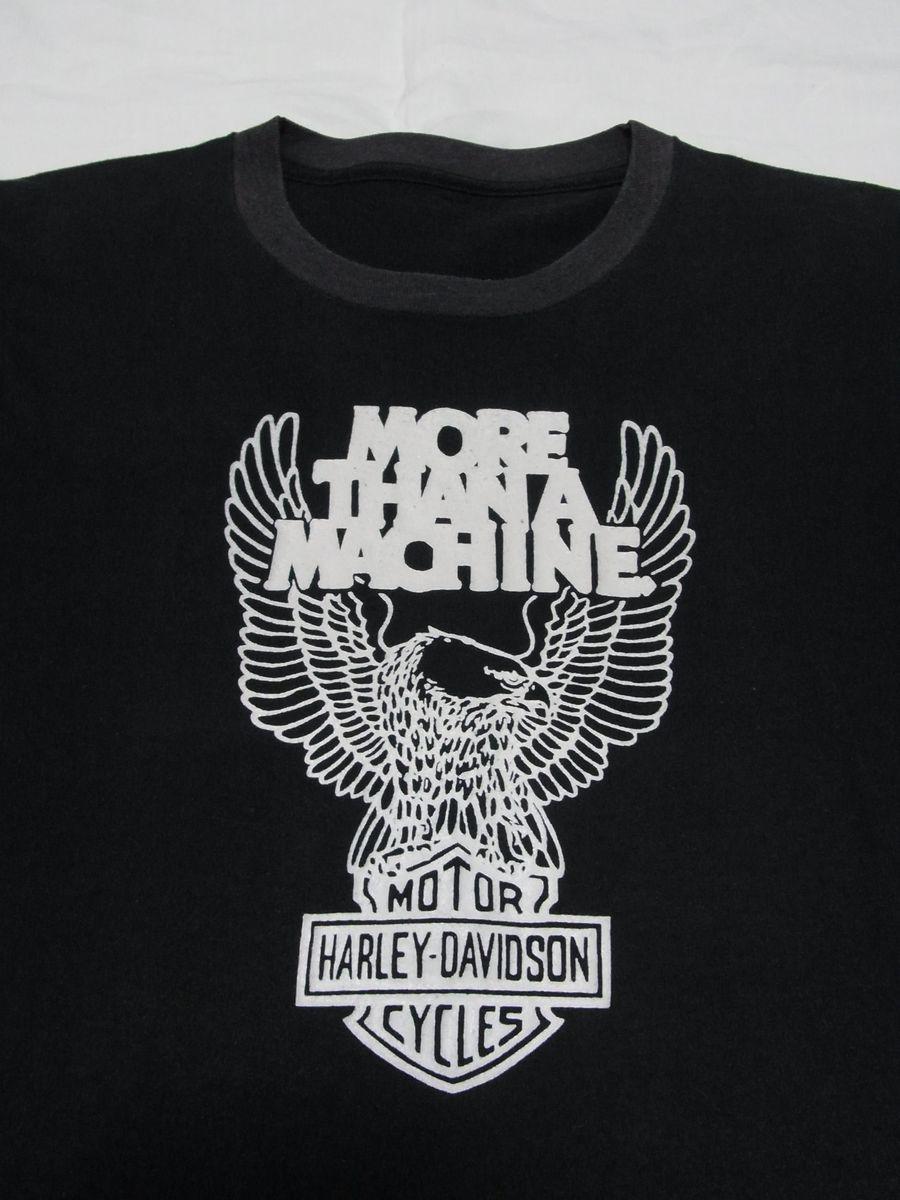 ☆ 70s ビンテージ HARLEY-DAVIDSON ハーレーダビッドソン MORE THAN A MACHINE イーグル Tシャツ ☆USA古着 2トーン 3D EMBLEM 80s OLD_画像4
