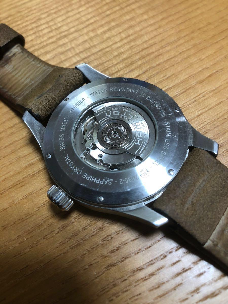 ハミルトン カーキオフィサーオート 44mm ビッグフェイス 自動巻 機械式時計 高級 腕時計 _画像4