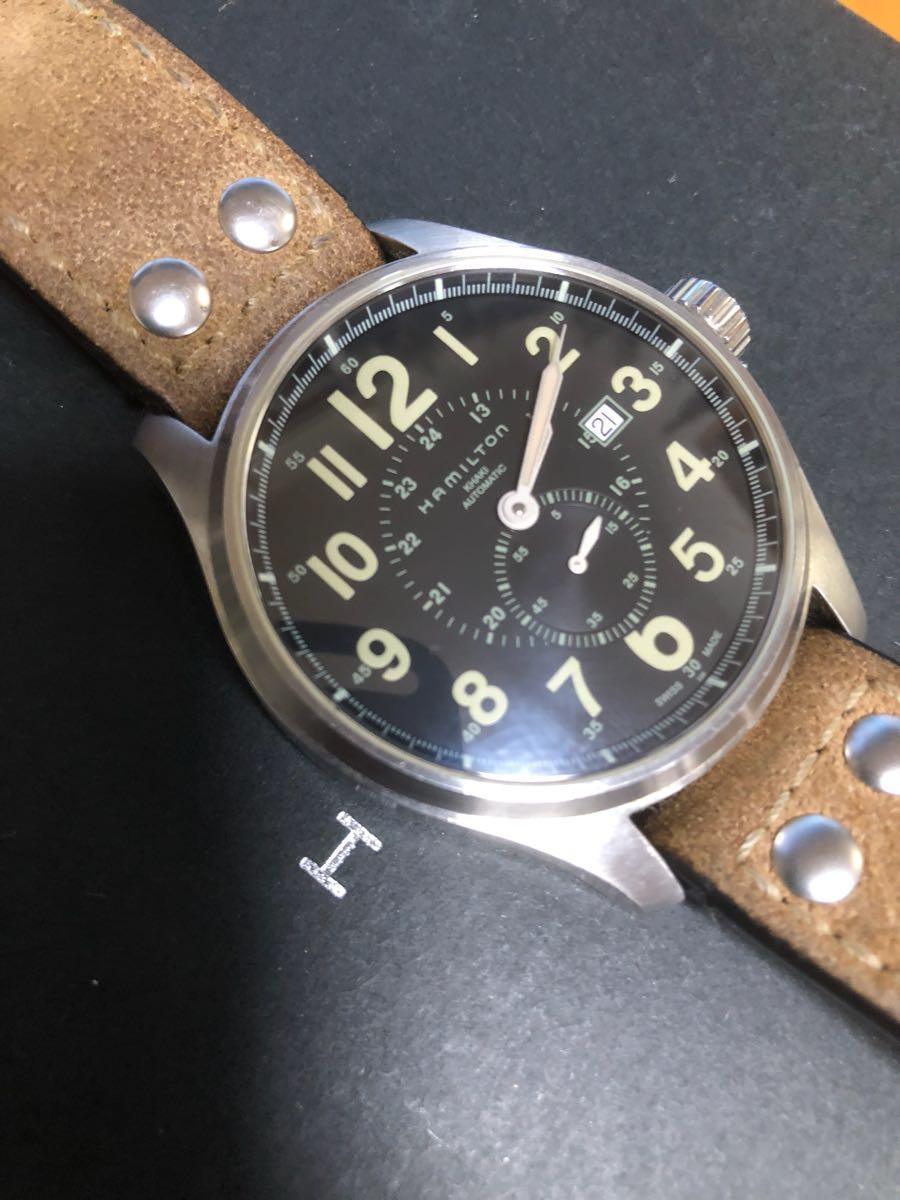ハミルトン カーキオフィサーオート 44mm ビッグフェイス 自動巻 機械式時計 高級 腕時計 _画像7